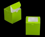 "3300 - 4"" x 4"" x 4"" Lime Green/White with Window, One Piece Lock & Tab Box With Lid. B09"