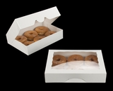 "3337 - 11 1/2"" x 8 1/4"" x 2 1/2"" White/White Timesaver Donut Box with Window"