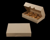 "3338 - 11 1/2"" x 8 1/4"" x 2 1/2"" Brown/Brown Timesaver Donut Box without Window"