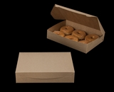"3339 - 11 1/2"" x 8 1/4"" x 2 1/2"" Brown/Brown Lock & Tab Donut Box without Window"