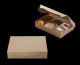 "3339 - 11 1/2"" x 8 1/4"" x 2 1/2"" Brown/Brown Lock & Tab Pastry Box without Window"
