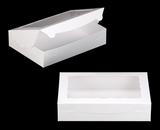 "3340 - 11 1/2"" x 8 1/4"" x 2 1/2"" White/White with Window, Lock & Tab Box With Lid"