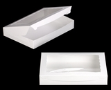 "3341 - 16"" x 11 1/2"" x 2 1/2"" White/White with Window, Lock & Tab Box With Lid"