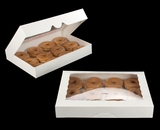 "3343 - 16"" x 11 1/2"" x 2 1/2"" White/White Timesaver Donut Box with Window"