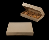 "3344 - 16"" x 11 1/2"" x 2 1/2"" Brown/Brown Timesaver Donut Box without Window"