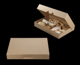 "3344 - 16"" x 11 1/2"" x 2 1/2"" Brown/Brown Timesaver Pastry Box without Window"