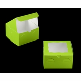 "3345 - 7"" x 7"" x 4"" Lime Green/White with Window, Lock & Tab Box with Lid"