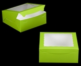 "3346 - 10"" x 10 ""x 4"" Lime Green/White with Window, One Piece  Lock & Tab Box With Lid"