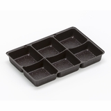 "3359 - 7"" x 4 1/2"" x 7/8"" Chocolate Brown 6 Cavity Candy Tray"