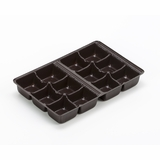 "3361 - 7"" x 4 1/2"" x 7/8"" Chocolate Brown 12 Cavity Candy Tray"