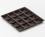 "3364 - 10"" x 10"" x 1 1/8"" Chocolate Brown 16 Cavity Candy Tray"