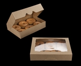 "3367 - 11 1/2"" x 8 1/4"" x 2 1/2"" Brown/Brown Timesaver Donut Box with Window"