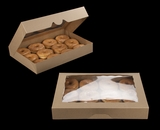 "3368 - 16"" x 11 1/2"" x 2 1/2"" Brown/Brown Timesaver Donut Box with Window"