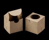"""3371 - 2 1/2"""" x 2 1/2"""" x 2 1/2"""" Brown/Brown with Window, Lock & Tab Box With Lid"""