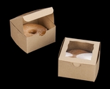 "3372 - 4"" x 4"" x 2 1/2"" Brown/Brown Lock & Tab Pastry Box with Window"