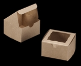 "3372 - 4"" x 4"" x 2 1/2"" Brown/Brown with Window, Lock & Tab Box With Lid"