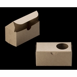 "3376 - 5"" x 2 1/2"" x 2 1/2"" Brown/Brown with Window, One Piece Lock & Tab Box With Lid"