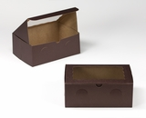 "3382 - 10"" x 7"" x 4"" Chocolate Brown/Brown with Window, Lock & Tab Box With Lid. A22"