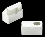 "3384 - 5"" x 2 1/2"" x 2 1/2"" White/White with Window, One Piece Lock & Tab Box With Lid. B06"