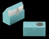 "3385 - 5"" x 2 1/2"" x 2 1/2"" Diamond Blue/White with Window, One Piece Lock & Tab Box With Lid. B06"