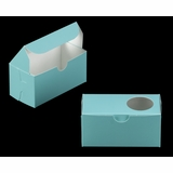 "3385 - 5"" x 2 1/2"" x 2 1/2"" Diamond Blue/White with Window, One Piece Lock & Tab Box With Lid"
