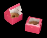 "3388 - 4"" x 4"" x 2 1/2"" Pink/White Lock & Tab Individual Donut Box with Window"