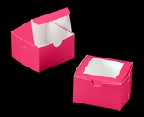 "3388 - 4"" x 4"" x 2 1/2"" Pink/White with Window, Lock & Tab Box With Lid"