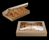 "3392 - 16"" x 11 1/2"" x 2 1/2"" Brown/Brown Lock & Tab Donut Box with Window"