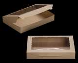 """3392 - 16"""" x 11 1/2"""" x 2 1/2"""" Brown/Brown with Window, Lock & Tab Box With Lid"""