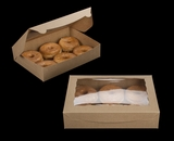 "3393 - 11 1/2"" x 8 1/4"" x 2 1/2"" Brown/Brown Lock & Tab Donut Box with Window"