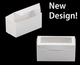 "3396 - 8"" x 4"" x 4"" White/White with Window, One Piece Lock & Tab Box With Lid"