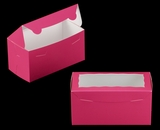 "3397 - 8"" x 4"" x 4"" Pink/White with Window, One Piece Lock & Tab Box With Lid. A13"