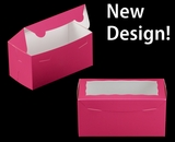 "3397 - 8"" x 4"" x 4"" Pink/White with Window, One Piece Lock & Tab Box With Lid. A12"