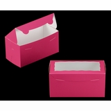 "3397 - 8"" x 4"" x 4"" Pink/White with Window, One Piece Lock & Tab Box With Lid"