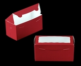 "3398 - 8"" x 4"" x 4"" Red/White with Window, One Piece Lock & Tab Box With Lid. A13"