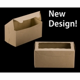 "3399 - 8"" x 4"" x 4"" Brown/Brown with Window, One Piece Lock & Tab Box With Lid"