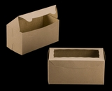 "3399 - 8"" x 4"" x 4"" Brown/Brown with Window, One Piece Lock & Tab Box With Lid. A10"
