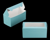 "3400 - 8"" x 4"" x 4"" Diamond Blue/White with Window, One Piece Lock & Tab Box With Lid. A13"
