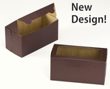 "3401 - 8"" x 4"" x 4"" Chocolate/Brown with Window, One Piece Lock & Tab Box with Lid"