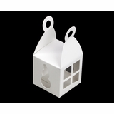 """3402 - 2 3/4"""" x 2 3/4"""" x 2 3/4"""" Holiday Favor Box White/White with Window, Snap Lock Bottom"""
