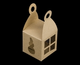 "3403 - 2 3/4"" x 2 3/4"" x 2 3/4"" Holiday Favor Box Brown/Brown with Window, Snap Lock Bottom"