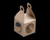 "3404 - 2 3/4"" x 2 3/4"" x 2 3/4"" Lantern Favor Box Brown/Brown with Window, Snap Lock Bottom. B04"