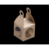 "3404 - 2 3/4"" x 2 3/4"" x 2 3/4"" Lantern Favor Box Brown/Brown with Window, Snap Lock Bottom"