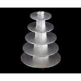 3416 - Silver Cupcake Stand, 5 Tier Double Wall Corrugated