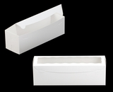 "3418 - 13"" x 4"" x 4"" White/White with Window, One Piece Lock & Tab Box With Lid. A17"