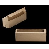 "3421 - 13"" x 4"" x 4"" Brown/Brown with Window, One Piece Lock & Tab Box With Lid"