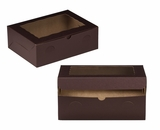 "3431 - 12"" x 9"" x 4"" Chocolate/Brown with Window, Lock & Tab Box With Lid. A25"