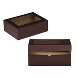 "3431 - 12"" x 9"" x 4"" Chocolate/Brown with Window, Lock & Tab Box With Lid"