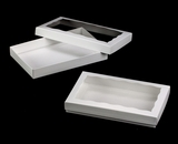 "3433x3432 - 9 1/2"" x 6"" x 1 1/4"" White/White Two Piece Simplex Box Set, with Window"