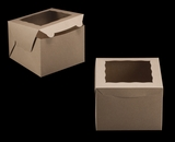 "3437 - 8"" x 8"" x 6"" Brown/Brown with Window, Lock & Tab Box With Lid"